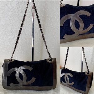 Authentic Black/Beige Chanel Chain Shoulder Bag